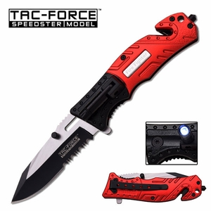 Firefighter Knife With Built In Flashlight Seatbelt Cutter & Window Punch