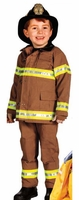 Kids Firefighter Halloween Custume with Real Fabric - TAN