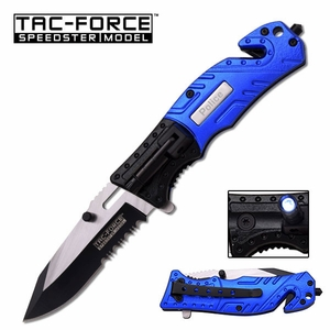 Police Spring Assisted Knife With Flashlight Seatbelt Cutter & Window Punch