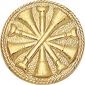 Smith And Warren Collar Brass Insignia -  5 BUGLES CROSSED PAIR