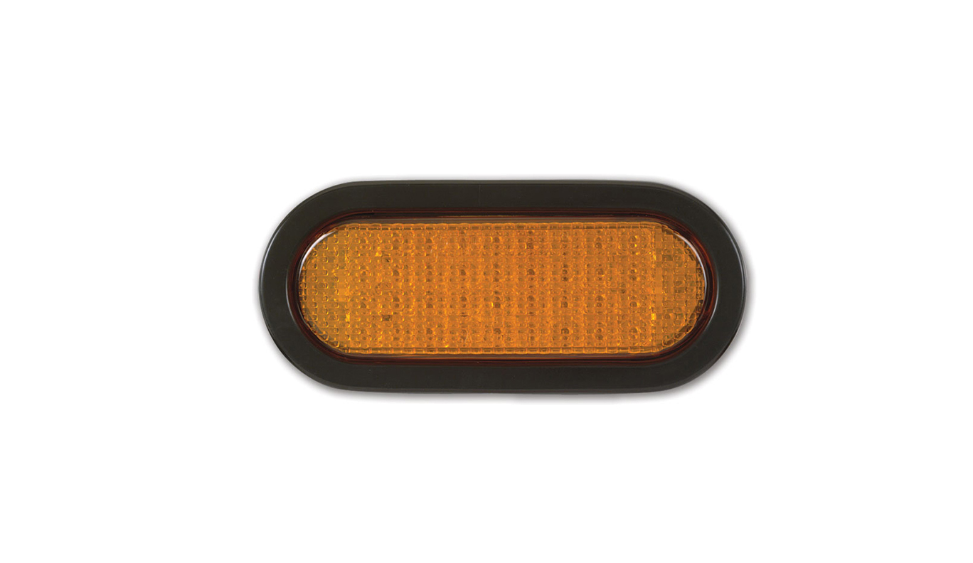 SoundOff Signal 6 inch Oval Park and Turn Amber/Grommet Light-ECVO62TY