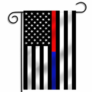 Thin Red Line & Thin Blue Line Dual Garden Flag - 12.5 x 18 Inches