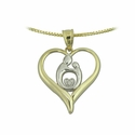 10K Two Tone Large  Heart Mother & Child&reg  Diamond pendant