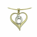 10K Two Tone Large  Heart Mother & Child&reg Pendant