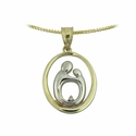 10K Two Tone Large Oval Mother & Child&reg Diamond pendant