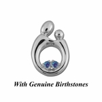 14K White Gold Large Mother and Child&reg Pendant for Twins with Genuine Birthstones