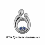 14K White Gold Large Mother and Child&reg Pendant for Twins with Synthetic Birthstones