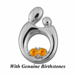 14K White Gold Queen Mother and Child&reg Pendant for Twins with Genuine Birthstones