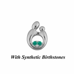 14K White Gold Small Mother and Child&reg Pendant for Twins with Synthetic Birthstones