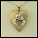 14k Yellow Gold Large Heart Mother and Child� Locket for 2 pictures