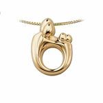 14K Yellow Gold Large Mother and Child&reg Family Twin Pendant