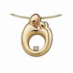 14K Yellow Gold Large Twin Mother and Child&reg Diamond Pendant