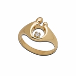 14K Yellow Gold Small Mother and Child&reg Diamond Ring