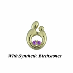14K Yellow Gold Small Mother and Child&reg Pendant for Twins with Synthetic Birthstones