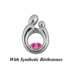 Sterling Silver Large Mother and Child&reg Pendant for Twins with Synthetic Birthstones