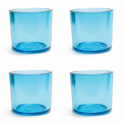Cose Nuove Recycled Glass Aqua Candle Votive Set of 4