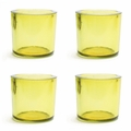Cose Nuove Recycled Glass Yellow Candle Votive Set of 4