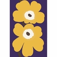 Marimekko Unikko 50th Anniversary Violet / Mustard Sateen Fabric Repeat
