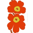 Marimekko Unikko 50th Anniversary White/Orange Sateen Fabric Repeat