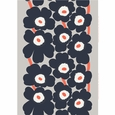 Marimekko Unikko Dark Grey / Coral Cotton-Linen Fabric