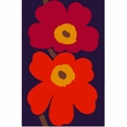 Marimekko Unikko Indigo/Red Sateen Fabric Repeat - Special Anniversary Edition