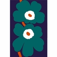 Marimekko Unikko Blue/Green Sateen Fabric Repeat - Special Anniversary Edition