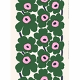 Marimekko Unikko White / Green / Pink Cotton Fabric