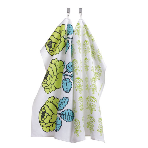Marimekko Vihkiruusu Green/Blue Tea Towels
