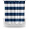Opima Stripe Navy Blue / White Shower Curtain