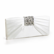 Bejeweled Ivory Satin Evening Bag