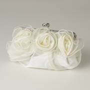 Ivory Satin Floral Evening Bag