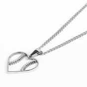 HOF Jewelry Stainless Baseball Stitched Heart Pendant Necklace