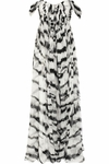 Abstract Tiger Printed V-Neckline Flared Dress