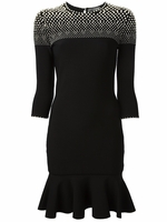 Black Pearl Detail Fitted Dress