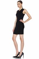 Fur Stripe Viscose-Blend Dress in Asphalt