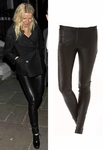 Alice Olivia Black Leggings Leather Front Zip