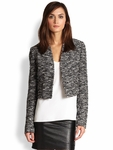 Black Madine Cropped Tweed Jacket