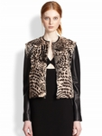 Alice + Olivia Black Trix Cropped Leathertrimmed Fur Jacket