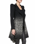 Carth Puff-shoulder Flared Coat Creamblack