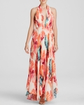 ALICE OLIVIA CLARE HALTER NECK PLEATED MAXI DRESS