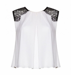 Alice Olivia Loretta Lace Combo Top White