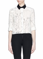 ALICE OLIVIA SHARON CAT PRINT BLOUSE