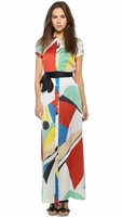 Arlen Tie Belt Maxi Dress - Colorblock Graphic