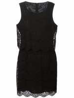 ARMANI JEANS Black layered lace dress