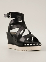 ASH Black Studded Wedge Sandals