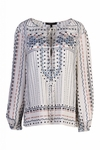BCBG EVANNA PRINTED PEASANT BLOUSE IN GARDENIA COMBO
