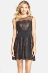 BCBGMAXAZRIA Black Cadee Lace Skater Dress
