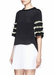 BEAD AND FRINGE EMBELLISHED SCULPTED SHORT-SLEEVE SILK TOP