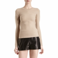 Beige Bandage Knit Sweater