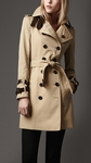 Beige Midlength Leather Detail Gabardine Trench Coat
